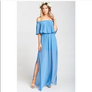 - NWT Show Me Your Mumu Blue Chiffon Maxi Dress